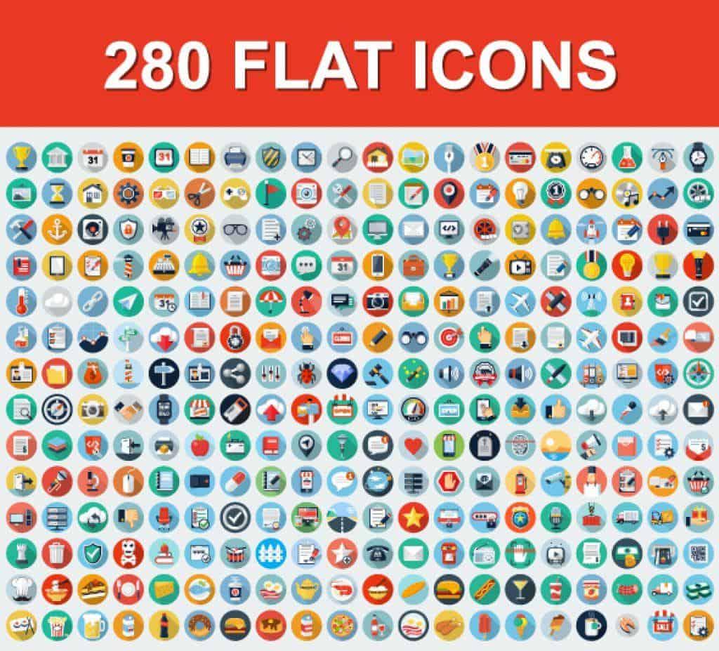 280 iconos universales planos
