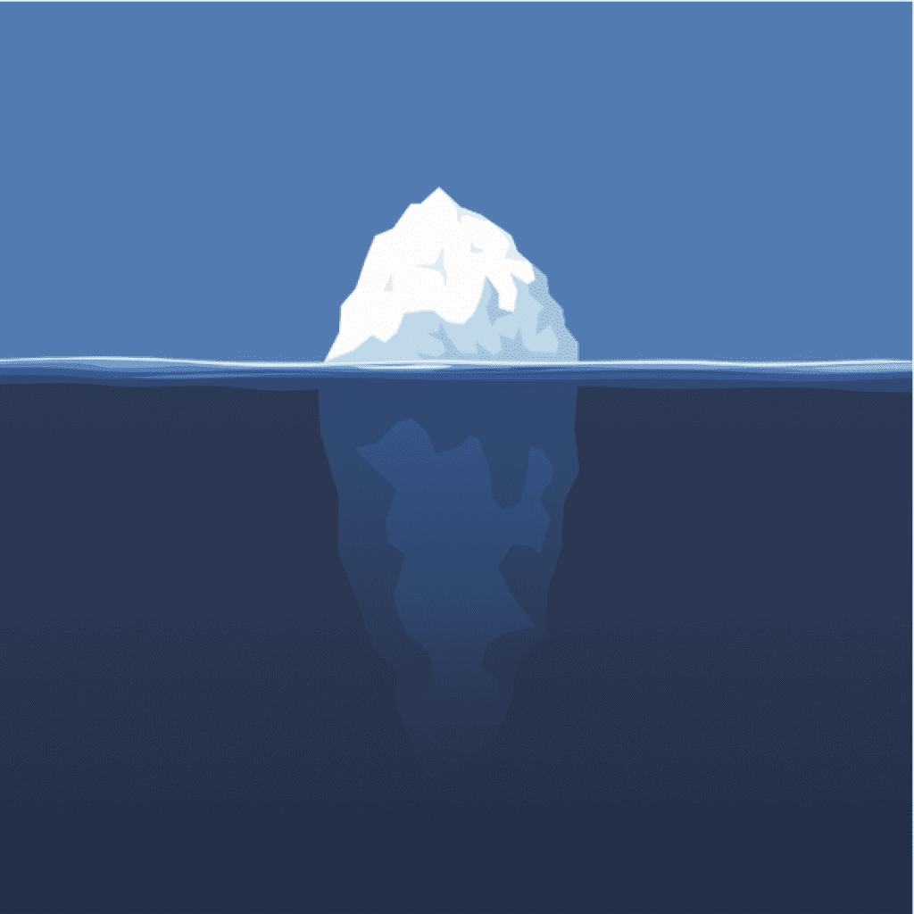 Ilustración vector de iceberg en el océano