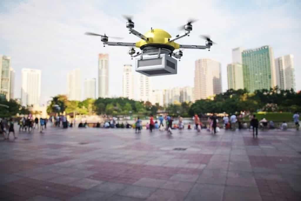 Imagen 3D de un drone para entregas futurista