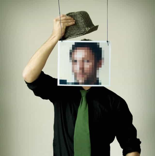 Hombre Elegante Rostro Pixelado Sombrero