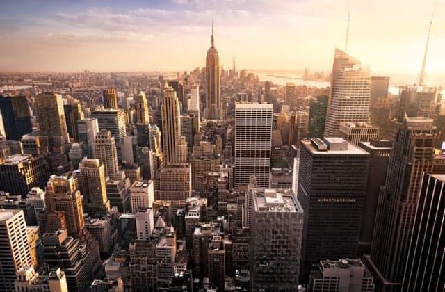 Vista Aerea Nueva York Atardecer