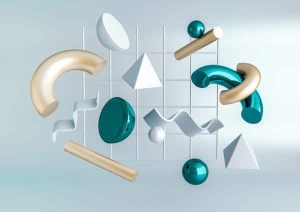3D Render Formas Realistas y Abstractas