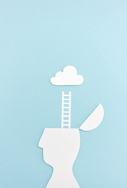 Ilustracion Abstracta Hombre Mente Escalera Nube